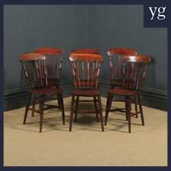 Antique Victorian Set Of Six 6 Ash And Elm Bar And Stick Back Kitchen Dining Chairs