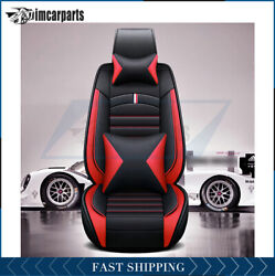 Full Set Car Seat Covers Protector 5-seats Car Suv Truck Cover+pillows Blackandred