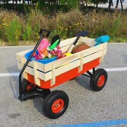 Outdoor Wagon Metal Garden Utility Cart All Terrain Pulling With Wood Railing
