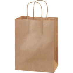 8 X 4.5 X 10.25 Kraft Brown Mailers, Shopping Bags With Handles - 2500 Pack