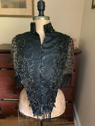 Original Antique Victorian Mourning Womens Clothing Capelet Jacket Beadwork