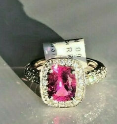 18k White Gold Ring With A Genuine Pink Tourmaline And Diamonds Brand New