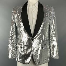 Dolce And Gabbana Size Us 42 / It 52 Silver Sequined Polyester / Silk Sport Coat