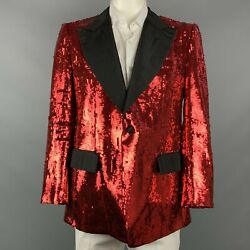 Dolce And Gabbana Size 44 Regular Red And Black Sequined Peak Lapel Sport Coat