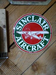 Ande Rooney 11.25andrdquo Sinclair Aircraft Porcelain On Heavy Steel Reproduction Sign