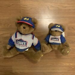 Boyds Bears Nascar Jimmie Johnson 48 Lowes Lot Of 2 10 Inch And 8 Inch