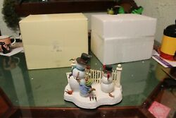 Rare Discontinued Lenox Curious Encounter In Box With Light Snowman
