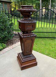 Antique French Pedestal Plant Stand Urn Planter Display Table Mahogany 19th C