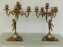 Vintage Pair Of Candlesticks Putti 5 Candles Metal France Hand Carved Decorative