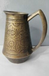 Vintage Large A Beautiful Bronze Milk Jug With A Cool Pattern Hand Carved Used
