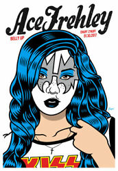 Scrojo Ace Frehley Makeup Version Belly Up Tavern 2017 Poster Frehley_1701 Kiss