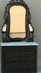Rosewood Antique Dresser With Mirror/carrera Marble Top/porcelain Wheels