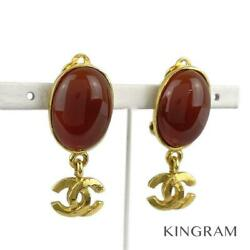 Gold Plated Stone Coco Mark 95a Vintage Earring From Japan