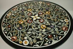 3and039 Black Marble Table Top Coffee Dining Center Inlay Antique S122