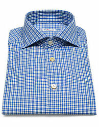 Kiton Shirt In Blue Checked With Shark Collar/regeur420