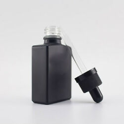 324 Count - 1oz / 30ml Black Frosted Glass Square Bottles With Droppers Case