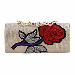 Fawziya Embroider Evening Clutches For Wedding And Party Purses For Women Ros... $40.64