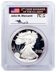 1986 S Proof American Silver Eagle Pcgs Pr70 Dcam Mercanti Signed Flag Label