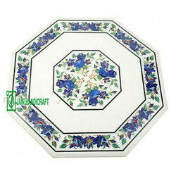 24and039and039 White Marble Table Top Corner Center Inlay Malachite Lapis Antique C21