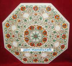 27and039and039 White Marble Table Top Coffee Center Inlay Malachite Lapis Antique C5