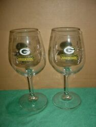 2 Super Bowl Xlv 45 Green Bay Packers Stemmed Wine Glass Lot Date/trophy Etched