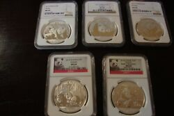 2009-2014 1oz Chinese Silver Panda Collection All Graded Ngc Ms69 In Wooden Box