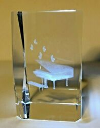 Grand Piano 3d Laser Etched Crystal Glass Paperweight - 3 Tall