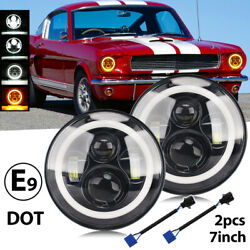 For Ford Mustang Shelby Gt 350 500 7 Led Headlight Halo Ring Drl Turn Signals