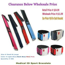 405 Pack - Adjustable Medical Id Sport Bracelets For Kids And Adults   Clearance