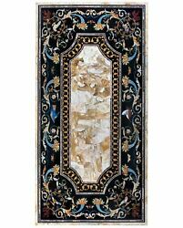 5'x3' Antique Coffee Marble Table Top Pietra Dura Inlay Home Decor Mosaic