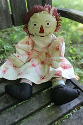 Rare Antique Vintage Raggedy Ann Doll Plush 19 Handmade Early 1920and039s 1930and039s