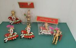 Lot 6 Vintage Hand Painted Wood Christmas Ornaments Military Knight Armor Horse
