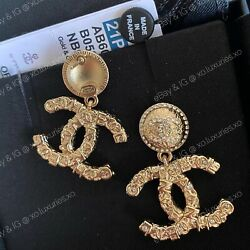 Authentic Receipt New |sold Out Cc Gold Drop Crystal Logo Dangle Earrings