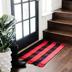 And Black Buffalo Plaid Rug I Machine Washable Front Door Mat   Farmhouse Red
