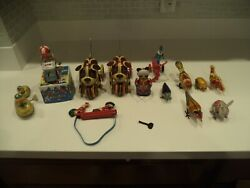 12 Vintage Tin Wind Up Toys All Work Only One Key Some Have Keys