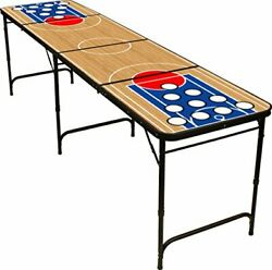 8' Folding Beer Pong Table With Bottle Opener, Ball Rack And 6 Pong Balls - Bask