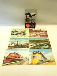 7 Vintage Lithograph Postcards Advertising Trains, Railways And Locations Unused