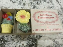 Vintage Cardinal China Co Flower Pot Measuring Spoon Holder And Rest W/spoons Nos
