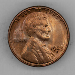 1929 S Lincoln Wheat Cent Penny 1c Bu Brilliant Uncirculated - Red 2949
