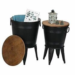Farmhouse Accent Side Table, Rustic Antique Galvanized End Coffee Or Black