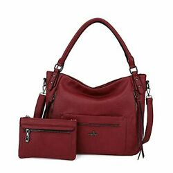 Angelkiss Hobo Shoulder Bags for Women Large Faux Leather Crossbody Purses Red $44.04