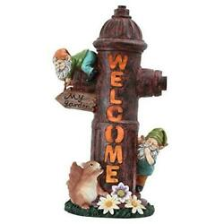 Garden Gnome Sculptures And Statues With Solar Lights Welcome Sign Fire