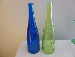 Ikea Collectible, Emma Dafnas, Pressed Daisies Glass Bottles,1green,1 Blue.