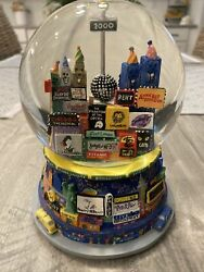 New York City Year 2000 Snow Globe Broadway Twin Towers Music Box Times Square