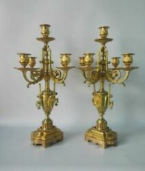 Beautiful Antique Gilded Bronze Candelabra Candlesticks The 19th Century France