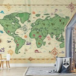 Childrens Bedroom Wallpaper Feature Wall Kids Map Decor In Size 144x100inch