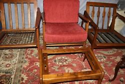 Vintage Mid-century 3 Lounge Chairs And 1 Foot Stool Rare Sold Together