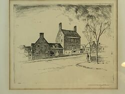 Rare Otto Kuhler Original Etching, Brice House Annapolis, Md Pencil Signed,