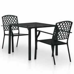 Patio Bistro Set Of 3 Outdoor Furniture Steel Stacking Chairs And Table Black Us
