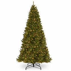 National Tree Company-12and039 North Valley Spruce Hinged Tree With 1400 Clear Lights